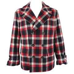 RALPH LAUREN XL Red White Blue Plaid Wool / Nylon Double Breasted Peacoat