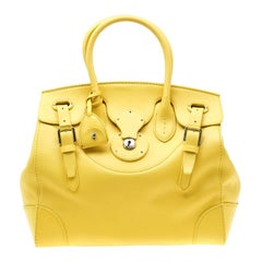 Ralph Lauren Yellow Soft Leather Ricky 33 Tote