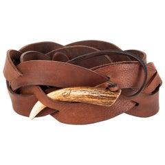 RALPH LAURENT dark brown leather Braided HORN Belt One Size