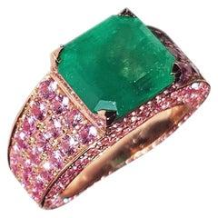 Ralph Masri 4.23ct Pink Sapphire Emerald Cocktail Ring