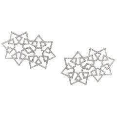 Ralph Masri Arabesque Deco Diamond Double Star Earrings