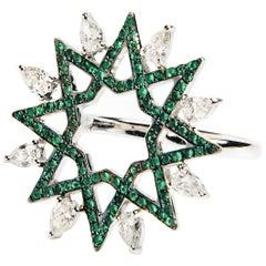 Ralph Masri Arabesque Deco Diamond and Emerald Ring