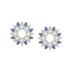 Ralph Masri Arabesque Deco Diamond Sapphire Star Studs