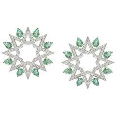 Arabesque Deco Diamond Star Studs