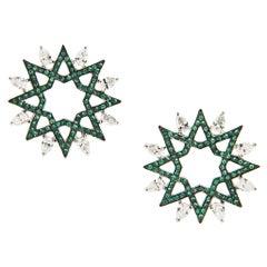 Ralph Masri Arabesque Deco Emerald and Diamond Earrings