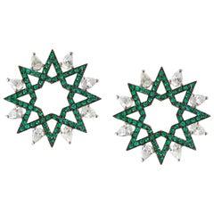 Ralph Masri Arabesque Deco Emerald Diamond Star Studs