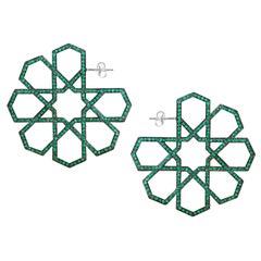 Ralph Masri Arabesque Deco Emerald Hoops