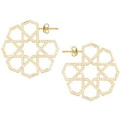 Arabesque Deco Gold Diamond Hoops