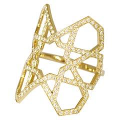 Ralph Masri Arabesque Deco Gold Diamond Ring
