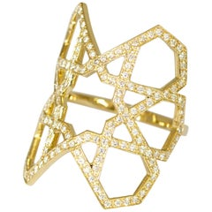 Arabesque Deco Gold Diamond Ring