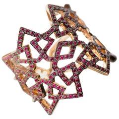 Ralph Masri Arabesque Deco Rose Gold Ruby Ring