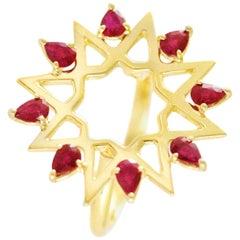 Ralph Masri Arabesque Deco Yellow Gold Ruby Ring