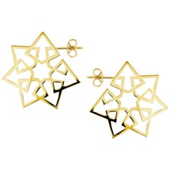 Ralph Masri Arabesque Deco Yellow Gold Star Hoops