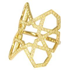 Ralph Masri Arabesque Deco Yellow Sapphire Gold Ring