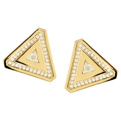 Ralph Masri Heliopolis Triangular Diamond Gold Earrings