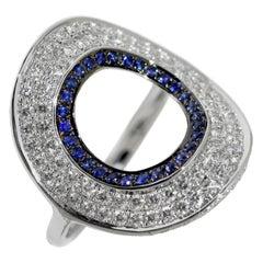 Ralph Masri Modernist Circular Diamond and Sapphire Ring