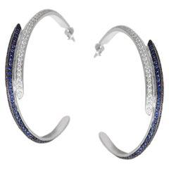 Ralph Masri Modernist Diamond and Sapphire Double Hoops