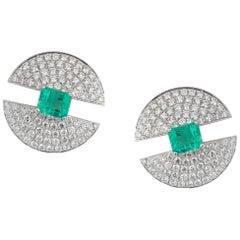 Ralph Masri Modernist Domed Emerald Diamond Earrings