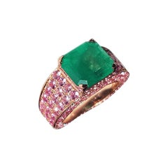 Ralph Masri Modernist 4.23ct Emerald Pink Sapphire Cocktail Ring