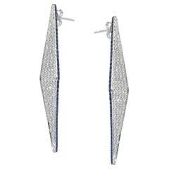 Ralph Masri Modernist Pave Diamond and Sapphire Earrings