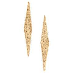 Ralph Masri Modernist Pave Diamond and Yellow Sapphire Earrings