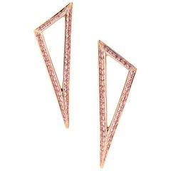 Ralph Masri Modernist Pink Sapphire Triangle Earrings