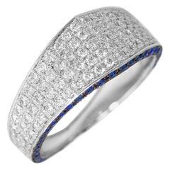 Ralph Masri Modernist Signet Diamond and Sapphire Ring