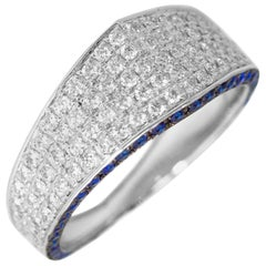 Ralph Masri Modernist Signet Diamond and Sapphire Ring