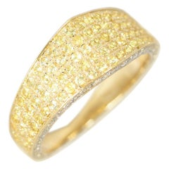 Ralph Masri Modernist Yellow Sapphire and Diamond Signet Ring