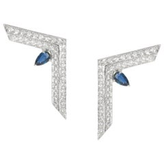 Ralph Masri Phoenician Script Diamond and Sapphire Earrings
