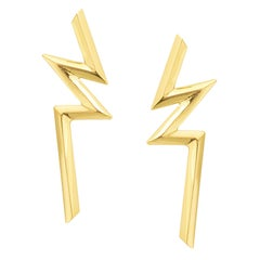 Ralph Masri Phoenician Script Gold Earrings