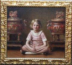 Portrait of Mary - British RA exh interior portrait oil painting Japanese urns