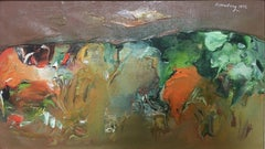 """American Landscape, #6,"" Abstract Expressionist Landscape Mid-century Painting"