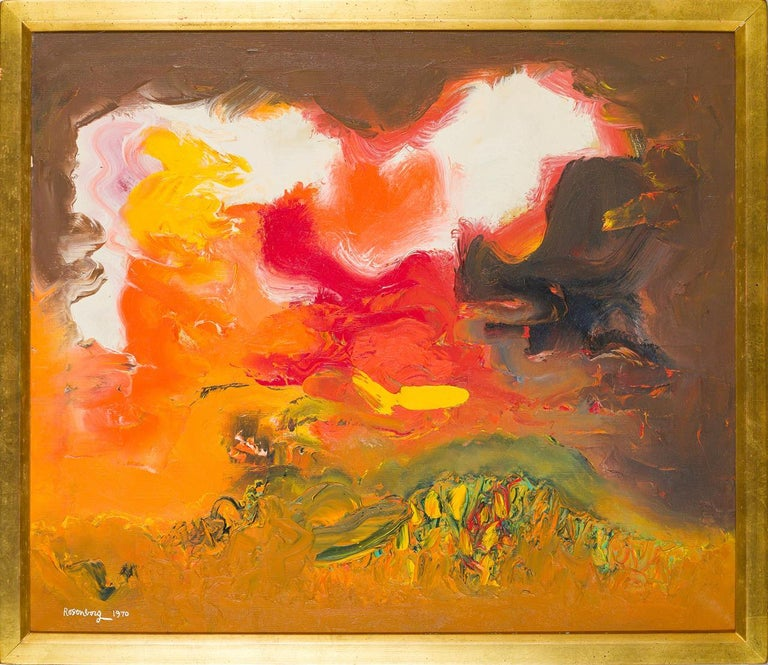 Ralph Rosenborg (1913 - 1992) Orange and White Sky, 1970 Oil on canvas 24 x 28 inches Signed and dated lower left; titled on the reverse  Provenance: A Nonprofit Collection, Connecticut  Working amid a critical period in the rise of American