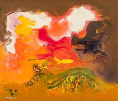 """Orange and White Sky,"" Ralph Rosenborg, Abstract Expressionist Nature Landscape"