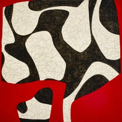 2nd Variation: Abstract Geometric Mid-Century Modern Red, Black & Beige Painting