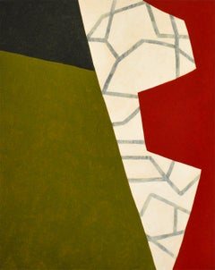 Dagger (Abstract Geometric Green, Red, Black and Beige Painting on Canvas)