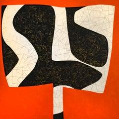First Variation: Abstract Orange, Black, & Beige Mid-Century Modern Painting