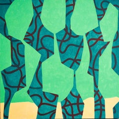 Five Figures (Abstract Figurative Painting in Blue, Teal & Turquoise)