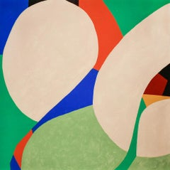Flower (Graphic, Abstract Painting on Panel in Beige, Blue, Green & Vermilion)