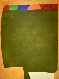 Goblet (Contemporary Abstract Colorblock painting in Yellow & Green)