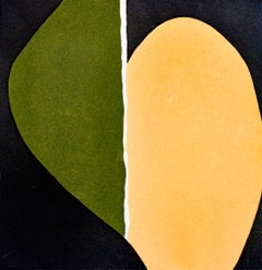 Heart: Square Abstract Minimalist, Green, Black, and Yellow Painting