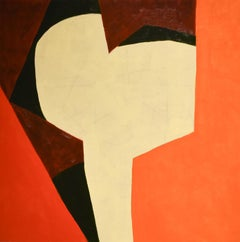 Small #16 (Small Abstract Geometric Painting on Panel in Red, Orange & Beige)