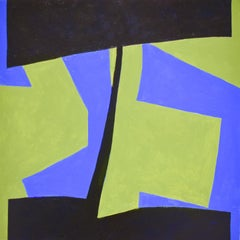 Small 19 (Square Abstract Geometric Painting on Panel in Green, Black, and Blue)