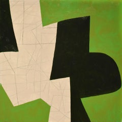 Small #20 (Abstract Geometric Painting on Panel in Green, Black, and Beige)