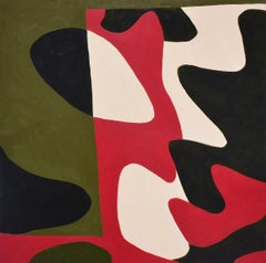 Small #5: Graphic, Abstract Geometric Painting in Red, Beige, Moss Green & Black