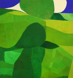 The Hill (Contemporary Square Abstract Landscape in Translucent Green Board)