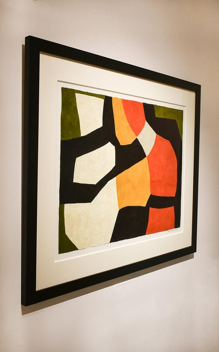 Vase: Abstract Mid Century Modern Painting in Red, Orange, Black & Beige, Framed For Sale 2