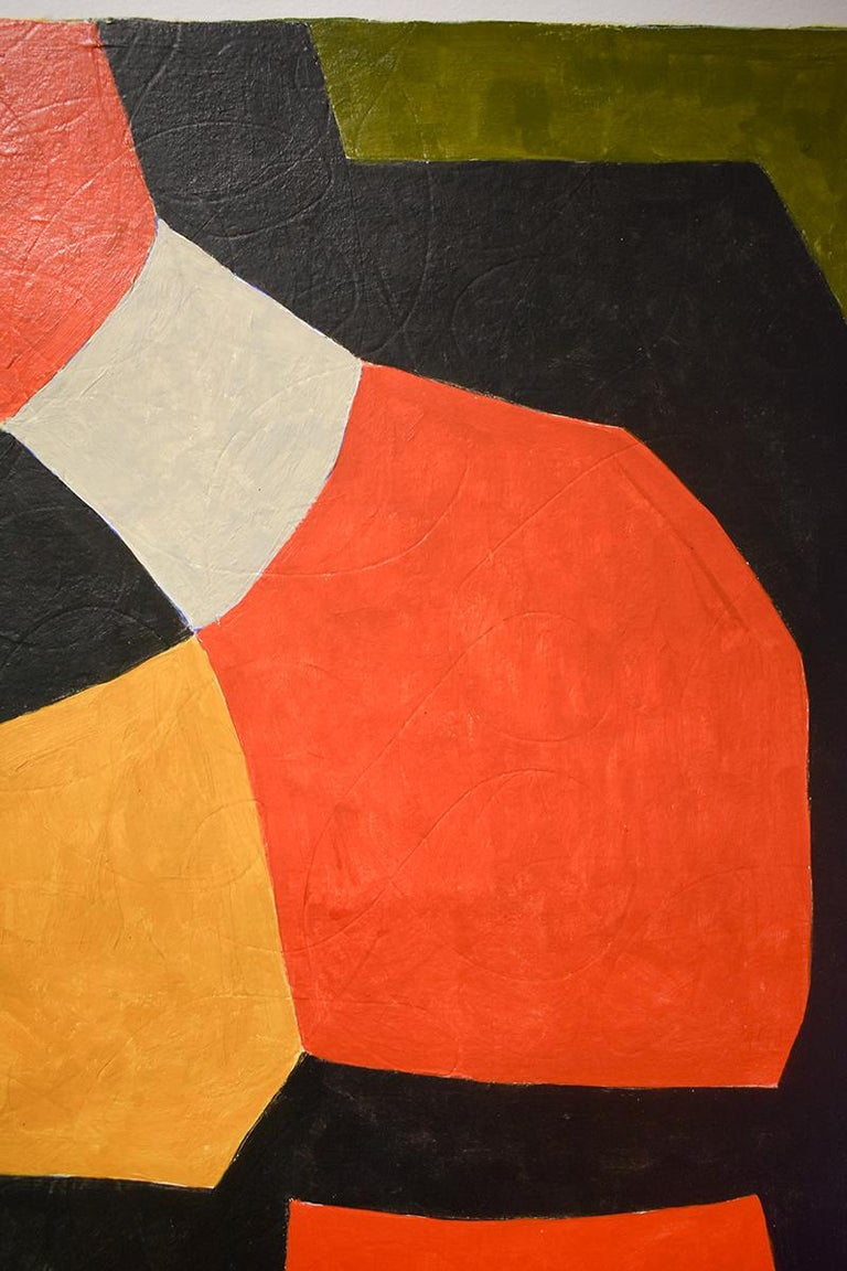 Vase: Abstract Mid Century Modern Painting in Red, Orange, Black & Beige, Framed For Sale 3