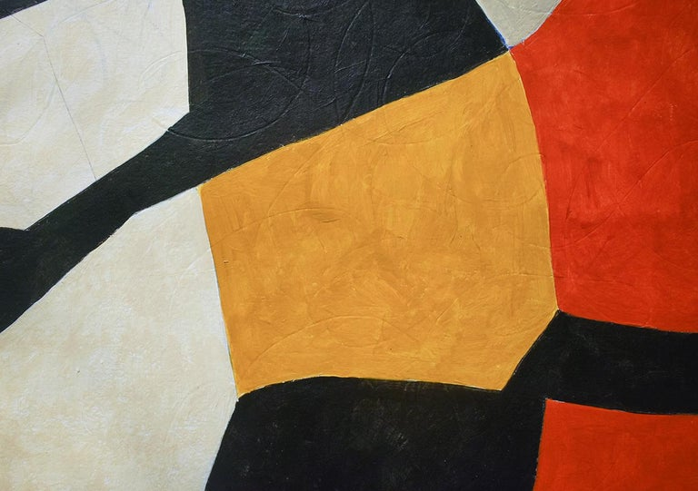 Vase: Abstract Mid Century Modern Painting in Red, Orange, Black & Beige, Framed For Sale 4